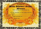 BABY SHOWER GAMES WINNER CERTIFICATE -  UNIQUE  EXCLUSIVE PROFESSIONALLY PRINTED