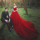 Red Off Shoulder Train Wedding Dresses Quinceanera Formal Occasion Pageant Gown