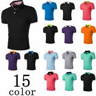 New Mens Plain Short Sleeves T-Shirts Polo Collar Button Shirts Tops Summer