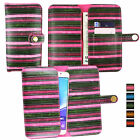 Vintage Stripes  Leather Wallet Case Cover Sleeve Holder Fits Alcatel Phones