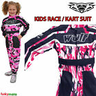 WULFSPORT KIDS CUB GIRLS KART SUIT PINK CAMO OVERALL RIDING ELASTIC TOUGH PROTEC