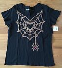 NWT Misses Black V-Neck Halloween Tee ~Hearts Web~ Sz Lg or XL