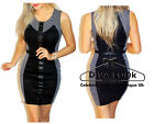 Ladies Sexy Bodycon Mini Dress Summer Party Evening Contrast Slimming Panel