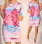 Womens Summer Tunic Floral Shirt Celebrity Top Party Mini Dress