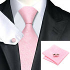 100% Pink Silk Tie, Pocket Square & Cufflink Set For Weddings, Formal Occasions