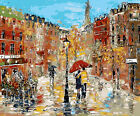 Rainy Day On Street Hand Painted Design Printed Needlepoint Canvas 070