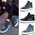 Women Vintage Fashion Side Zipper Comfortable Shoes Blue High Top Denim Shoes 01
