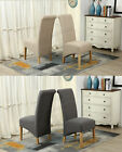 FoxHunter Linen Fabric Dining Chairs Roll Top Scroll High Back Springed Seat F01