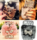 Handmade Luxury Bling Diamond Crystal Jewelled Rabbit Fur Back Phone Case Cover