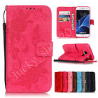 Cute Butterfly Flowers Handbag Leather Flip Wallet Cards Strap Phone Case Cover