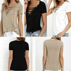 Summer Women Sexy V Neck Lace UP T-Shirt Short Sleeve Loose Top Casual Blouse AS