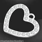 Sterling Silver 15mm Heart Charm With Crystal Pendant PK1 PK5