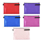 Office School Silder Grid Pattern Zip Up A4 Paper Document File Bags Holder