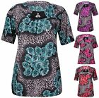 Womens Plus Size Flower Rose Printed Ladies Short Sleeve Stud Beaded T-Shirt Top
