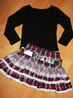 GIRLS BLACK TOP & PINK WHITE TARTAN PRINT LACE RUFFLE PARTY SKIRT with BELT