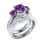 3.40 Ct Purple Round Cut Engagement Wedding Bridal 925 Sterling Silver Ring Set