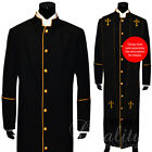 Clergy Robe Solid Black Gold Piping Cassock Full Length Preacher Retail $200