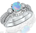 Round Simulated Light Blue Fire Opal Genuine Sterling Silver Engagement Ring Set