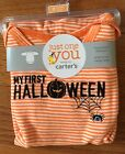 NWT Carter's Just One You Orange Striped My First Halloween Bodysuit ~Infant Siz