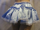 """SISSY ADULT BABY SEXY FANCY DRESS BLUE SATIN MICRO MINI FRILLY SKIRT 11""""LONG"""