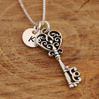 925 Sterling Silver Personalised Key To Your Heart Pendant Necklace &Initial Tag