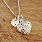 925 Sterling Silver Personalised Filigreed Heart Pendant Necklace & Initial Tag