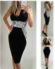 Womens Summer Pencil Bodycon Slimming Illusion Crochet Race Party Midi Dress