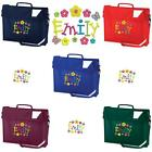 PERSONALISED EMBROIDERED BOOK BAG & STRAP WITH FLOWERS FONT & NAME SCHOOL- music