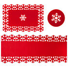 Christmas Red Felt Snowflake Tableware Runner Coasters Table Mats Xmas Lot Home