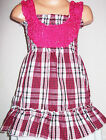 GIRLS BRIGHT PINK MIX ROSETTE TRIM CHECK TARTAN PRINT PARTY DRESS & LEGGING