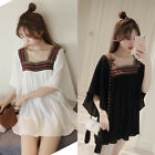 Vintage Women Loose Embroidery Backless Square Neck Casual Shirt Dress M-4XL