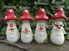 'Fun Guys' Toadstool Garden Ornaments made from Terracotta and Hand painted.