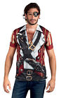 MENS DELUXE CARIBBEAN PIRATE BUCCANEER FANCY DRESS COSTUME 3D T-SHIRT PARROT NEW