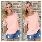 Fashion Women Vest Top Short Summer Sleeve Casual Tank Tops T-Shirt Lace Blouse