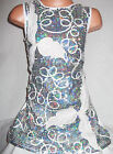 GIRLS 60s WHITE LEAF SPIRAL EMBROIDERED SILVER SEQUIN EVENING SHIFT PARTY DRESS