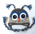 CROCHET OWL BABY HAT w/ties infant toddler child cap beanie boy/girl photo prop