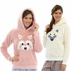 Ladies Fleece Hooded Snuggle Top Fox Or Racoon Face Lounge Night Wear Animal