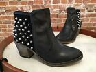White Mountain Secret Black Leather Studded Ankle Boots New