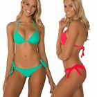Sheridyn Swimwear Bikini Set Moulded Push-Up Top Scrunch Ruching Tie Side Bottom