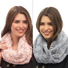 Ladies Faux Fur Snood Loop Scarf Warm Winter Fashion Accessory Pink Or Grey New