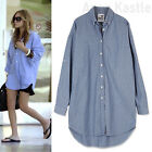 AnnaKastle New Womens Oversized Rollup Long Shirts Top Boyfriend Fit sz  M - L