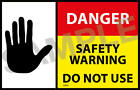 Gas Safe DANGER DO NOT USE labels