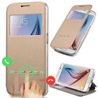 Slim Flip Leather Window View Smart Case Cover For Samsung Galaxy S6 S6 Edge JR