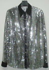 Men Cabaret Disco Fancy Party Dance Stage Singer Sequin Shirt Silver/Black