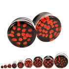 PAIR OF Black & Red Spiral Pyrex Glass Plugs Earrings With O-Rings Choose Gauge