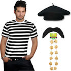 MENS FRENCH MAN Fancy Dress Costume FRANCE Waiter Frenchman Stag Party 4 PC Set