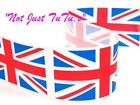 UNION JACK OLYMPIC POLYESTER RIBBON CHOICE OF WIDTHS 35MM OR 50MM ENGLAND 1 MTR