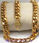STEEL 24K Gold Tone ION PLATED 11mm Six Faceted Cuban Curb Necklace LONG LASTING