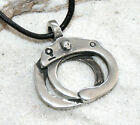 HANDCUFFS SM SKULL COP Pewter Pendant Leather Necklace