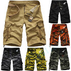 Mens Cotton Army Combat Camo Work Cargo Shorts Pants Beach Trousers Size 29-38